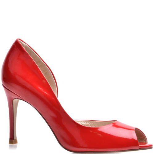 Туфли Prego с открытым пальчиком лаковые красного цвета на шпильке, фото