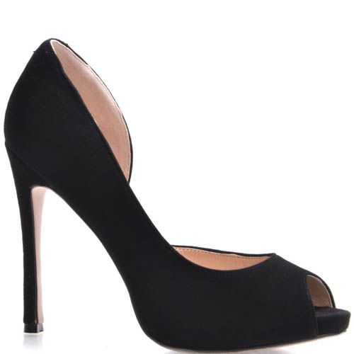 Туфли Prego с открытым пальчиком замшевые черного цвета на шпильке, фото