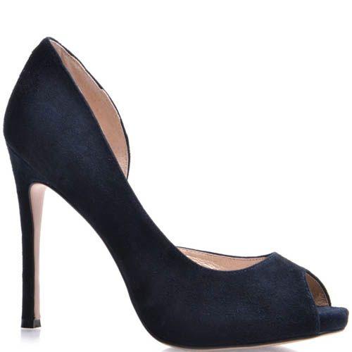 Туфли Prego с открытым пальчиком замшевые синего цвета на шпильке, фото
