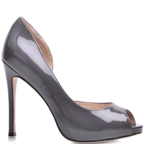 Туфли Prego лаковые с открытым пальчиком серого цвета на шпильке, фото