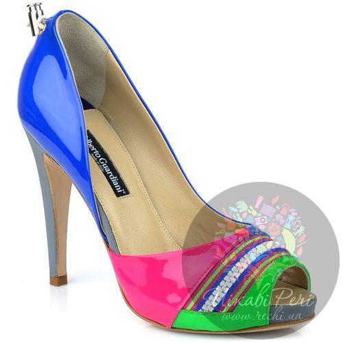 Туфли Alberto Guardiani открытые яркие на шпильке, фото