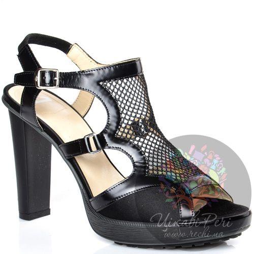 Босоножки Alberto Guardiani закрытые с сеточкой черные на каблуке-столбике, фото