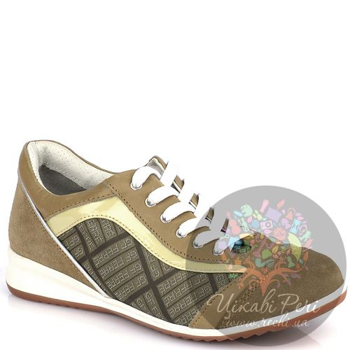 Кеды GF Ferre из текстиля и замши в светлых оттенках коричневого, фото