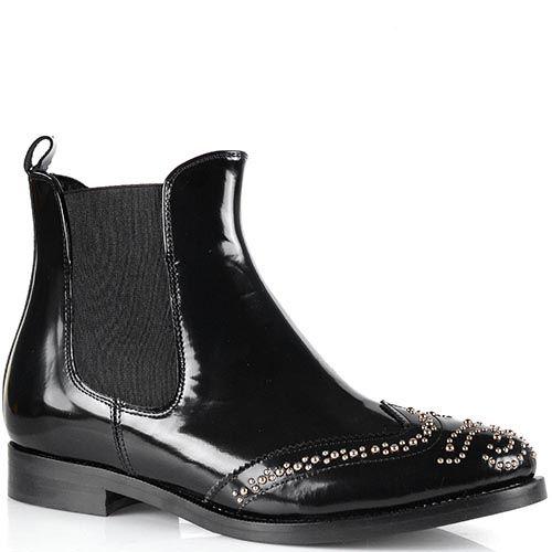 Ботинки-броги Bianca Di из лаковой черной кожи с мелкими заклепками, фото