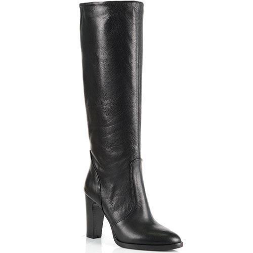 Женские сапоги Bianca Di из зернистой черной кожи на высоком каблуке, фото