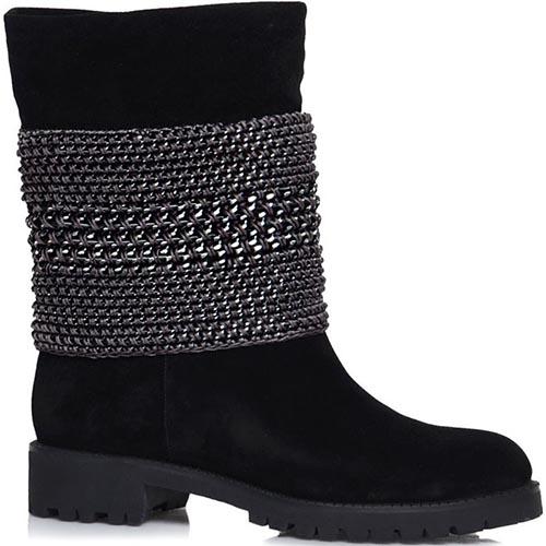 Высокие осенние ботинки Prego из натуральной замши черного цвета с серебристым декором, фото