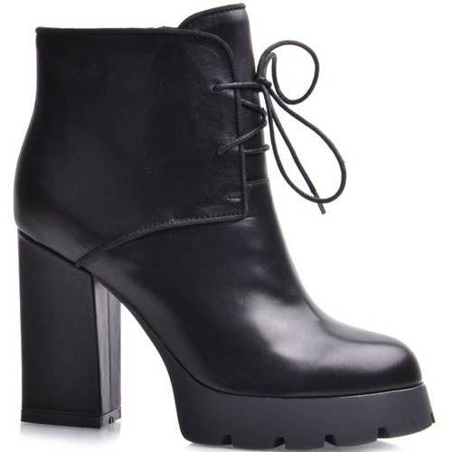 Ботильоны Prego черного цвета со шнуровкой на высоком каблуке и рельефной подошве, фото