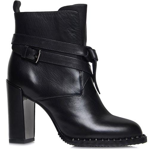 Ботинки Prego из натуральной кожи черного цвета с ремешком на высоком каблуке, фото