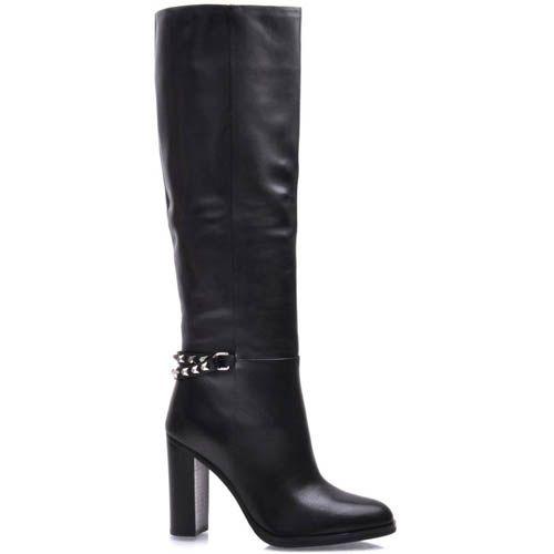 Сапоги Prego черные на каблуке с ремешком украшенным заклепками, фото