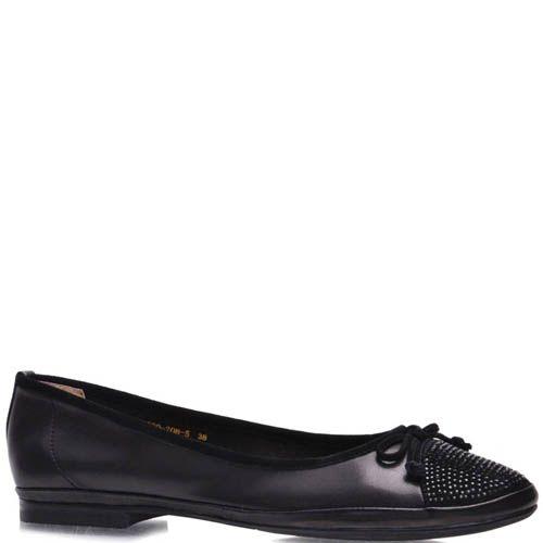 Балетки Grado женские черного цвета со стразами на носочке, фото