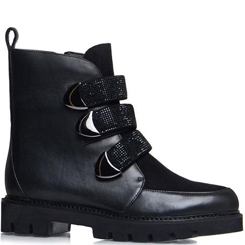 Черные кожаные ботинки Prego украшенные стразами, фото