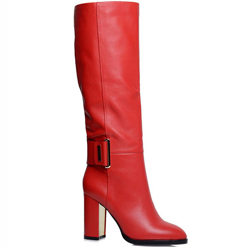 Кожаные сапоги Prego красного цвета, фото