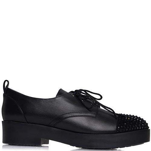 Туфли Prego черного цвета на шнуровке украшенные стразами, фото