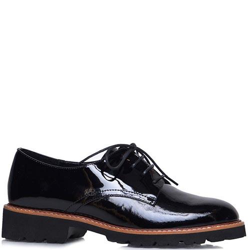 Лаковые туфли Prego черного цвета с коричневой полоской на подошве, фото