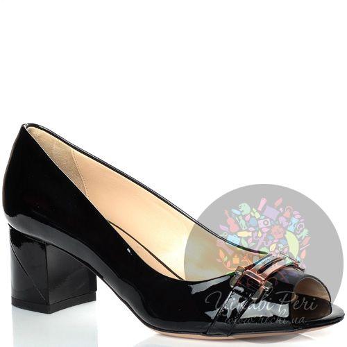 Туфли Baldinini на низком каблуке кожаные лаковые черные с открытым носком, фото