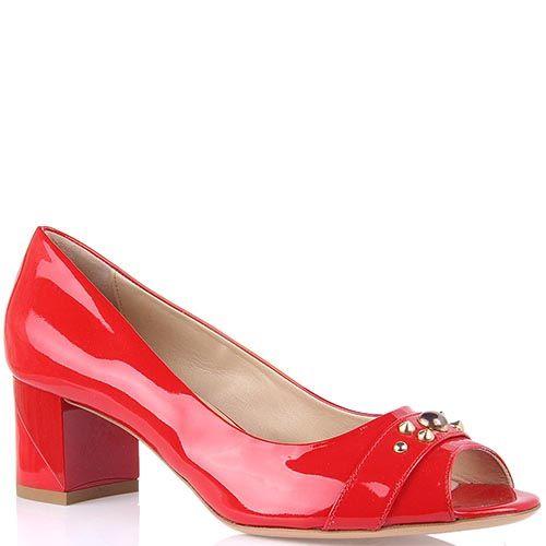 Лаковые женские туфли Baldinini красного цвета с открытым носком, фото