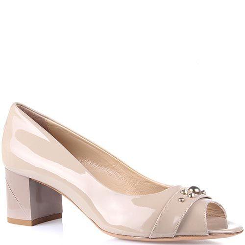 Женские туфли Baldinini из бежевой лаковой кожи на устойчивом каблуке, фото