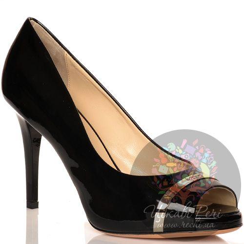 Туфли Baldinini на шпильке черные лаковые кожаные с открытым носком, фото
