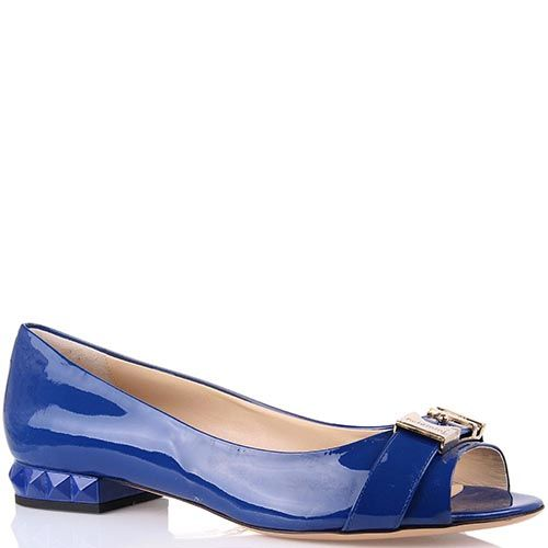 Туфли Baldinini синего цвета на низком каблуке с открытым носком, фото