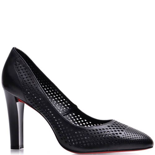 Туфли Prego женские на каблуке черного цвета со сквозными дырочками, фото