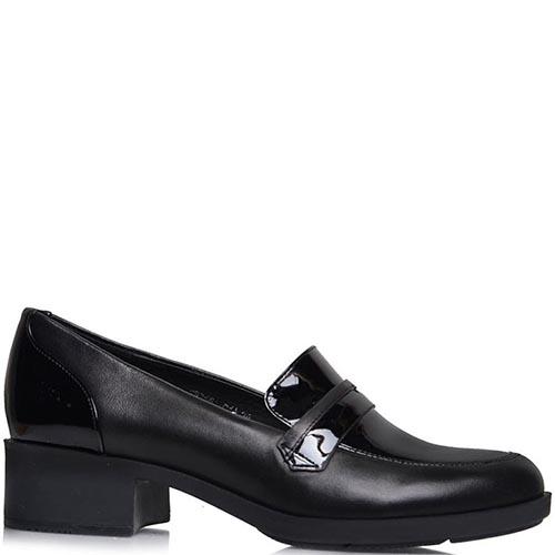 Туфли Prego из натуральной кожи черного цвета с лаковыми вставками, фото