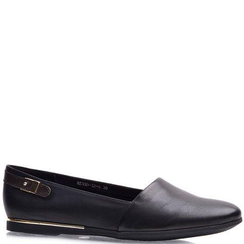 Туфли Prego из натуральной кожи черного цвета на низком ходу, фото