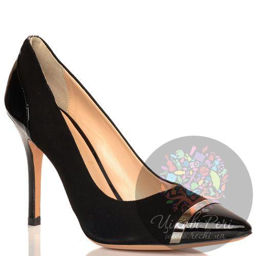 Туфли Baldinini на шпильке черные замшевые с лаковыми кожаными деталями, фото