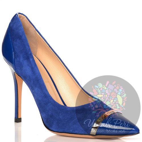 Туфли Baldinini на шпильке синие замшевые с лаковыми кожаными деталями, фото