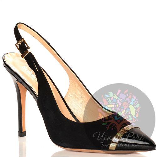 Туфли Baldinini на шпильке с открытой пяткой черные замшевые с лаковым кожаным носком, фото