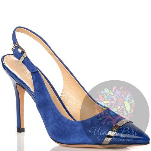 Туфли Baldinini на шпильке с открытой пяткой синие замшевые с лаковым кожаным носком, фото
