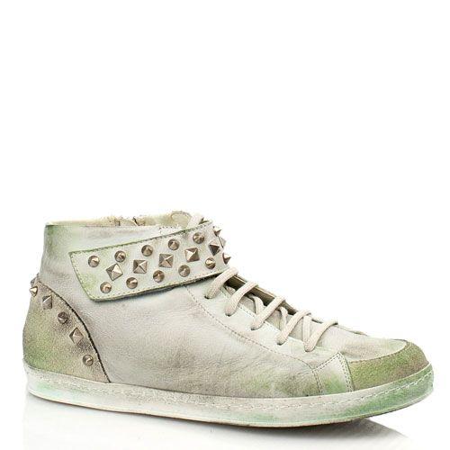 Кожаные кеды Bluzi с эффектом потертости зеленоватые, фото