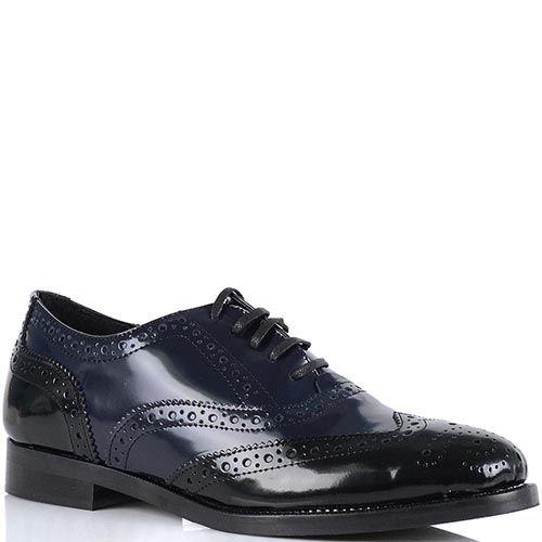 Женские туфли Bianca Di кожаные черно-синие, фото