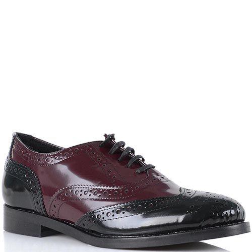 Женские туфли Bianca Di кожаные черно-бордовые, фото