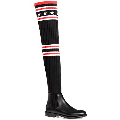 Ботфорты Givenchy черного цвета на низком каблуке, фото