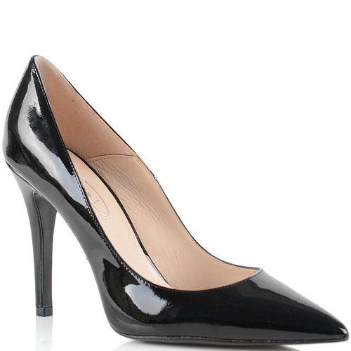 Туфли-лодочки Bianca Di кожаные черные лаковые на шпильке, фото