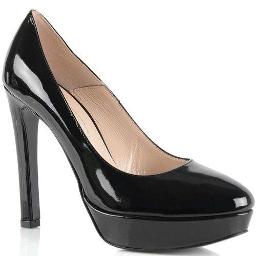 Туфли Bianca Di кожаные черные лаковые на высоком каблуке и платформе, фото