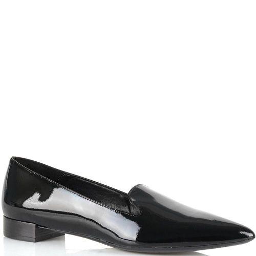 Лоферы Bianca Di кожаные черные лаковые женские с зауженным носком, фото