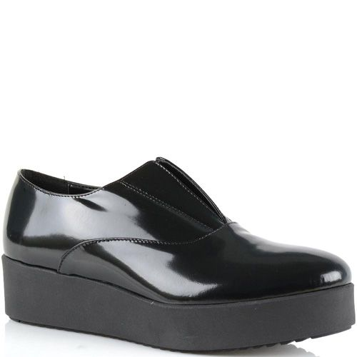 Туфли-полуботинки на платформе Bianca Di из черной полированной натуральной кожи, фото