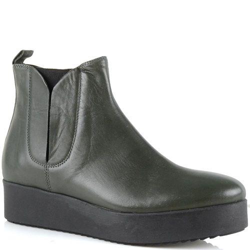 Ботинки на платформе Bianca Di кожаные темно-оливковые, фото
