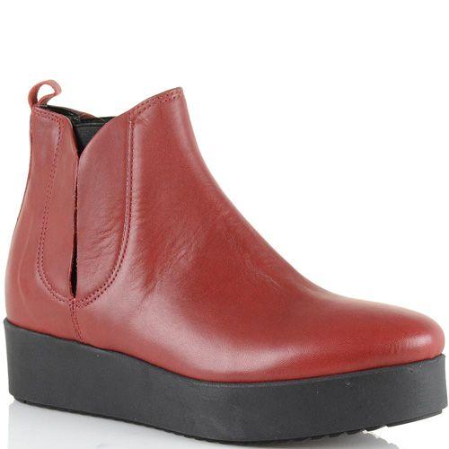 Ботинки на платформе Bianca Di кожаные темно-красные, фото