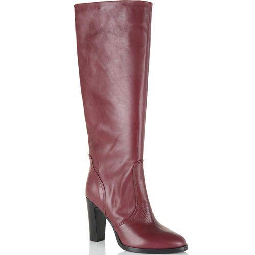 Кожаные сапоги Bianca Di свекольно-бордовые, фото