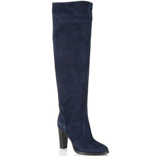 Сапоги-ботфорты Bianca Di замшевые темно-синие, фото