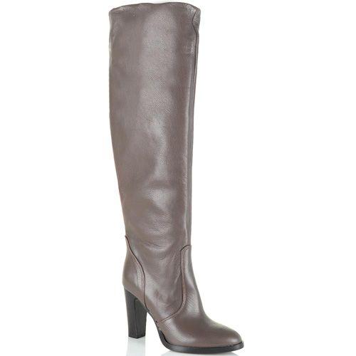 Сапоги-ботфорты Bianca Di кожаные светло-коричневые с серым оттенком, фото
