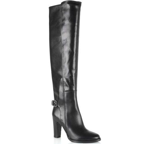 Сапоги-ботфорты Bianca Di кожаные черные глянцевые, фото