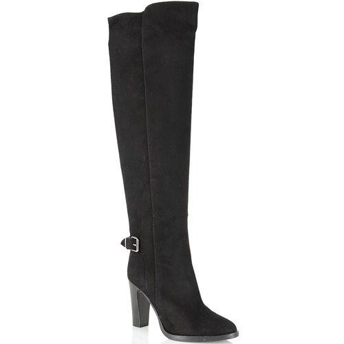 Сапоги-ботфорты Bianca Di замшевые черные с асимметричным верхом, фото