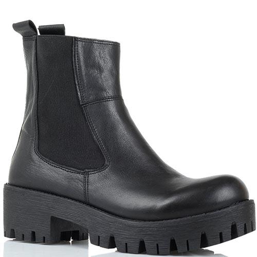 Кожаные ботинки черного цвета Studio Italia на толстой рельефной подошве, фото