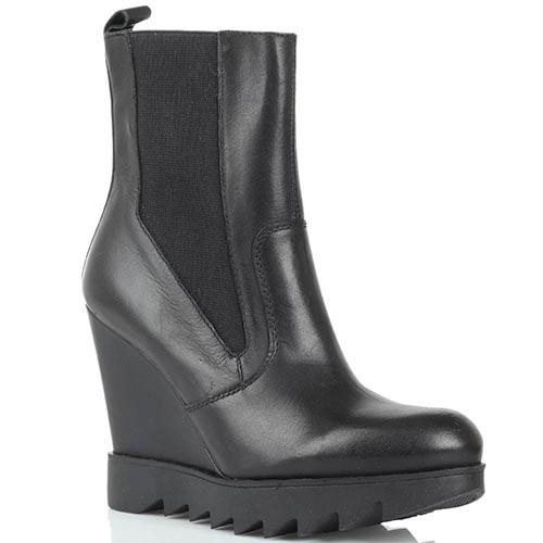 Кожаные ботинки черного цвета Studio Italia на рельефной платформе, фото