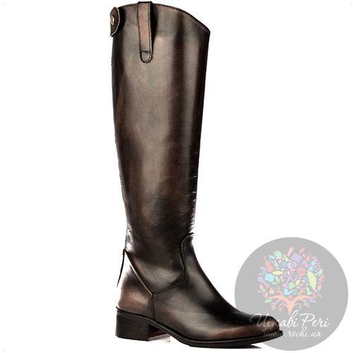 Сапоги Bluzi осенние высокие темно-коричневые в жокейском стиле, фото