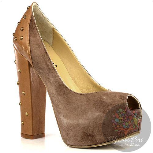 Туфли Bluzi из замши цвета какао и светло-коричневой кожи с заклепками, фото