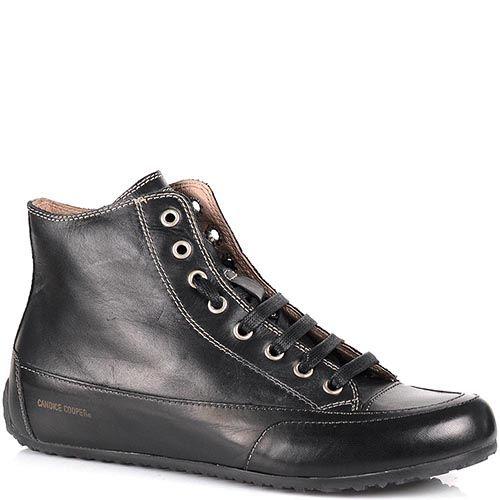 Кожаные кеды Candice Cooper черного цвета на низком ходу на шнуровке, фото